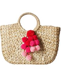 Hat Attack - Round Handle Tote W/ Pom Poms (pink) Tote Handbags - Lyst