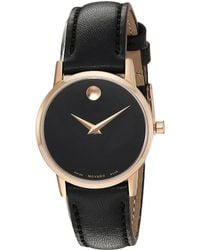 Movado Museum Classic Rose Gold - Tone Case Watch - Black