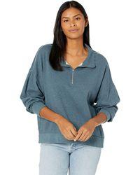 Dylan By True Grit Shay Double Fleece Drop Shoulder Zip-up Sweatshirt - Blue