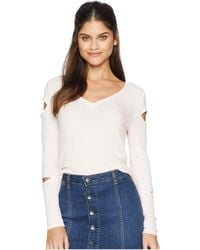 Chaser - Thermal Vented Long Sleeve V-neck Shirttail Tee (pearl) Women's Long Sleeve Pullover - Lyst