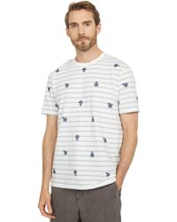 Ted Baker Bahji Short Sleeve Stripe Tee With Embroidered Floral - Blue