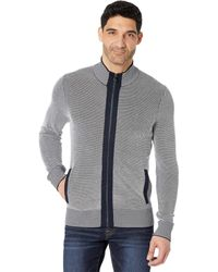 Michael Kors Two-color Stitch Full Zip Sweater - Blue