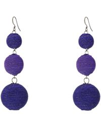 Kenneth Jay Lane - Triple Graduated Blue Ball Fish Hook Ear End Balls Thread Wrap/center Sparkle Wire Earrings - Lyst