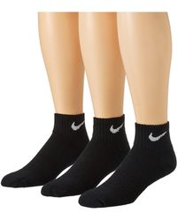 Nike - Cotton Cushion Quarter With Moisture Management 3-pair Pack (black/white) Men's Quarter Length Socks Shoes - Lyst