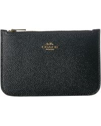 COACH - Zip Card Case In Crossgrain Leather (li/black) Credit Card Wallet - Lyst