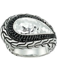 John Hardy - Classic Chain Hammered Silver Ring With Black Sapphire And Black Spinel - Lyst