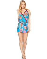 Trina Turk - Tahiti Tropical Romper Cover-up (pacific Blue) Women's Swimsuits One Piece - Lyst