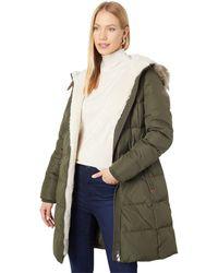 Lauren by Ralph Lauren Hooded Down Coat With Faux Leather Trim Berber - Green