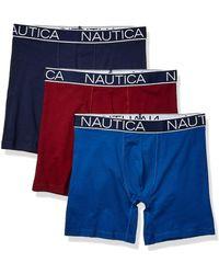 Nautica 3-pack Classic Underwear Cotton Stretch Boxer Brief - Blue