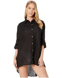 Seafolly Lightweight Linen Blend Shirt Cover-up - Black