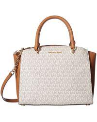 ad3991c19e53ae MICHAEL Michael Kors - Ellis Signature Large Satchel (brown) Satchel  Handbags - Lyst