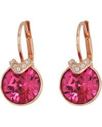 Swarovski - Bella V Pierced Earrings (fuchsia/rose Gold Plating) Earring - Lyst