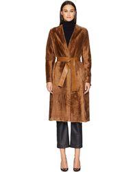 Vince - Belted Shearling Coat (camel) Women's Coat - Lyst