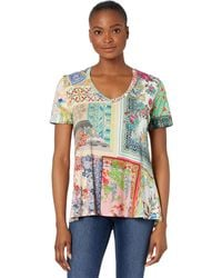 Johnny Was Anika Short Sleeve V-neck Swing Tee Clothing - Multicolor