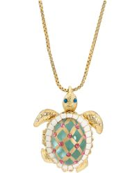 Betsey Johnson Sea Excursion Long Necklace With Turtle Pendant - Green