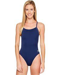 70734b594e5cc Speedo - Solid (r) Endurance + Thin Strap (natical Navy) Women s Swimsuits