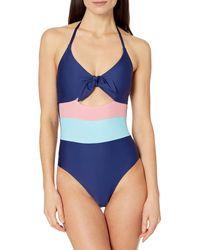Splendid Tie Front Key Hole One Piece Swimsuit - Blue