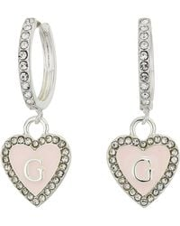 Guess Museum Hoop Earrings With Enamel Heart Charm Drop - Pink