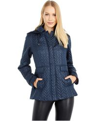 Kate Spade Chevron Quilted Coat - Blue
