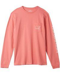 Vineyard Vines Long Sleeve Whale Pocket T-shirt - Pink