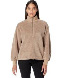 Dylan By True Grit Sherpa Modern Zip Pullover Sweatshirt - Brown
