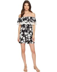MICHAEL Michael Kors - Floral Vine Off The Shoulder Cover-up Dress W/ Tassels Detachable Strap (black) Women's Swimwear - Lyst