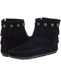 Minnetonka - Double Fringe Side Zip Boot - Lyst