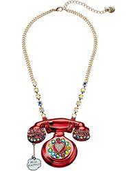 Betsey Johnson Phone Pendant Necklace - Pink