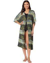 Vince Camuto Kimono Midi Cover-up (deep Sea) Women's Swimwear - Green