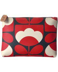 Orla Kiely - Spring Bloom Vinyl Luggage Large Pouch (ruby) Luggage - Lyst