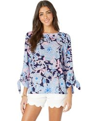 39ee48e00faec Lilly Pulitzer - Langston Top (bright Navy Amore Please) Women s Clothing -  Lyst
