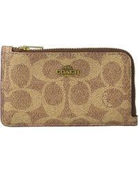 COACH Signature Small L-zip Card Case - Brown
