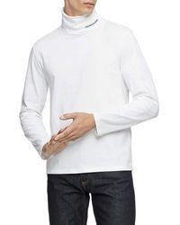 Calvin Klein Logo Long Sleeve Turtleneck - White