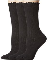 Hue - Scalloped Pointelle Socks 3-pack (black Solids) Women's Crew Cut Socks Shoes - Lyst