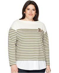 Lauren by Ralph Lauren - Plus Size Striped Layered Cotton Sweater - Lyst