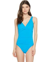 Lauren by Ralph Lauren | Beach Club Solids Twist Over The Shoulder Underwire One-piece | Lyst
