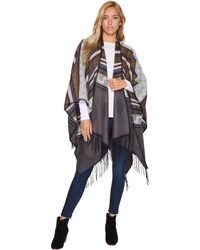 San Diego Hat Company - Bsp3540 Poncho With Fringe (grey) Women's Clothing - Lyst