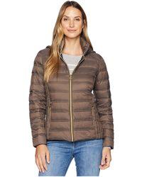 MICHAEL Michael Kors - Zip Front Packable With Removable Hood M823157g (mocha) Women's Coat - Lyst
