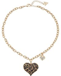 Guess | Gone Wild Animal Print Heart Necklace | Lyst