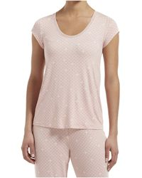 Hue Join The Dots Short Sleeve Sleep Tee With Temp Tech - Pink