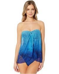 Lauren by Ralph Lauren Ombre Palm Flyaway Convertible One-piece - Blue