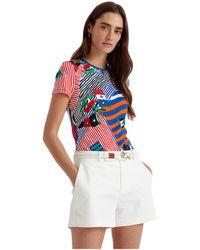 Lauren by Ralph Lauren Flags And Stripes Stretch Cotton Tee T Shirt - Multicolor