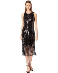 Tahari - Sequin Sheath Dress With Fringe (black) Women's Dress - Lyst