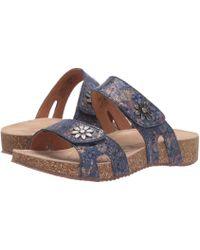 Josef Seibel Tonga 04 Leather Slide Sandals - Blue