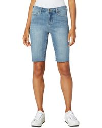 Liverpool Jeans Company Five-pocket Cruiser Shorts With Cut Hem In Del Mar - Blue
