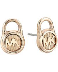 Michael Kors - Logo Lock Stud Earrings (gold 2) Earring - Lyst