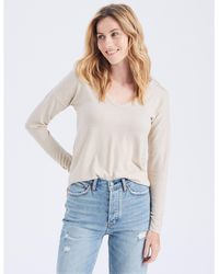 Abercrombie & Fitch Long-sleeve V-neck Tee - Natural