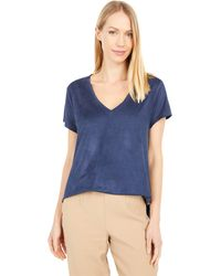 Dylan By True Grit Luxe Suede Knit Babydoll V-neck Tee - Blue