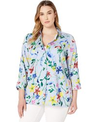 Foxcroft - Plus Libby Floral Over Stripe - Lyst