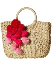 Hat Attack - Small Round Handle Tote With Poms (natural/pinks) Tote Handbags - Lyst